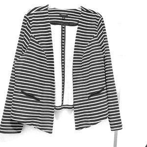 Torrid Jacket Ponte knit black white stripes. EUC